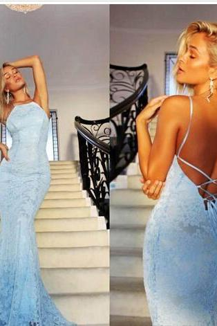 Bohemia Backless Prom Dresses With Spaghetti Straps Back Criss Cross Straps Mermaid Party Dress Gowns Lace Beach Dresses Evening Wear