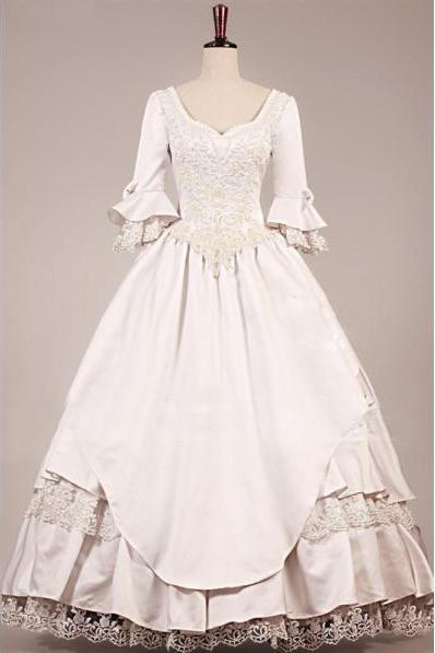 VINTAGE VICTORIAN WEDDING DRESS new style Vintage Wedding Dresses A Line Lace Bridal Ball Gowns Dresses