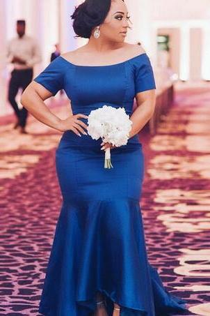Chic Royal Blue Bridesmaid Dresses Hi Low Mermaid Off The Shoulder Long Maid Of Honor Wedding Party Dress Cheap African Prom Dress