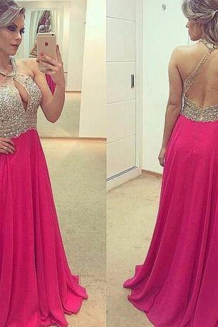 NEW V Neck A line Evening Dresses Long Sleeveless Zipper Sweep Train Chiffon with Crystal Long Formal Gown Beaded 2016 Prom Dresses