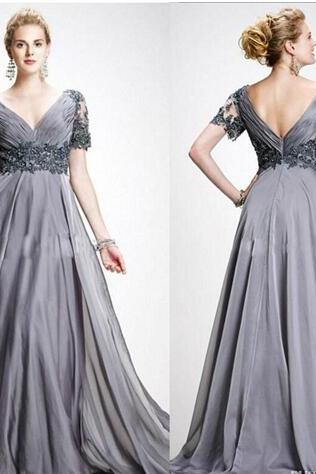 Elegant Beaded Mother Of The Bride Dresses Plus Size V Neckline Backless Evening Gown Chiffon Pleated Occasions Dress For Wedding
