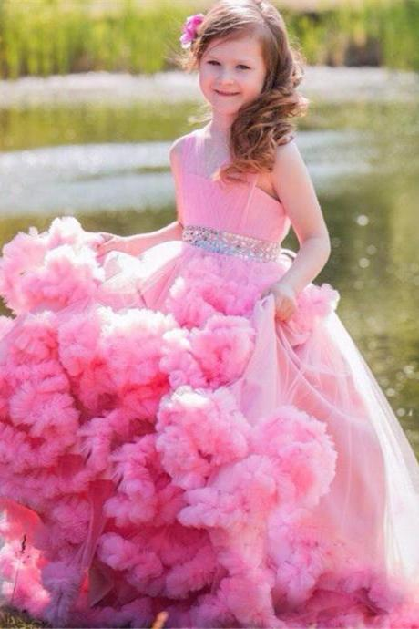 Ball Gown Girl's Pageant Dresses Floor Length Ruffled Tulle Crystal Flower Girl Dresses Custom Made Vestidos Longo