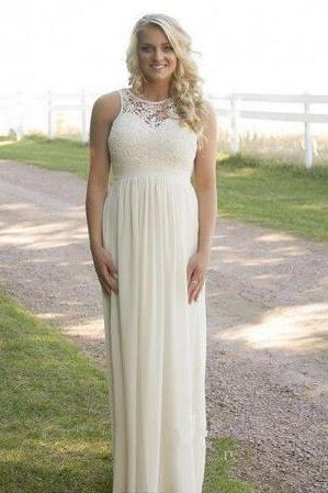 2018 Cheap Spring Summer Plus Size Country Style Bridesmaid Dresses Lace Top High Waist Maternity Chiffon Long Garden Beach Dresses