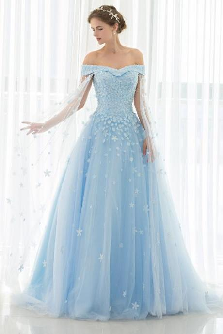 Custom Made Empire Wedding Dresses Light Blue Tulle with Lace Applique and Beads Long Bridal Gowns Cathedral Train