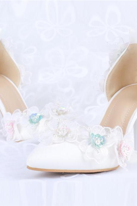 2019 White Luxury Bling Women Pumps 10cm High Heels Wedding Shoes Beaded Crystals Pointed Toe High Heel Cinderella