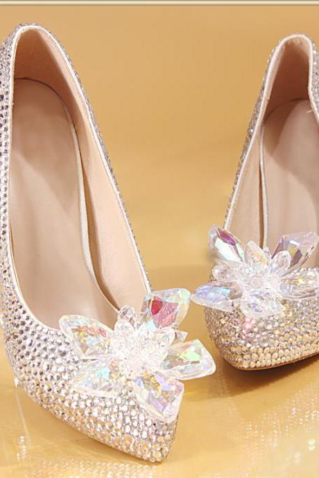 2018 Sparkle Wedding Heels Luxury Bling Women Pumps 10cm High Heels Wedding Shoes Beaded Crystals Pointed Toe High Heel Cinderella