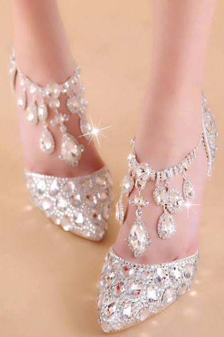 2018 In Stock Sparkle Women Pumps 10 cm High Heels Wedding Bridal Shoes  Crystals Lace Pointed 455ae51ecdaa