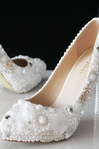 Sparkle White Wedding Heels Women Pumps 10cm High Heels Wedding Bridal Shoes Crystals Lace Pointed Toe High Heels