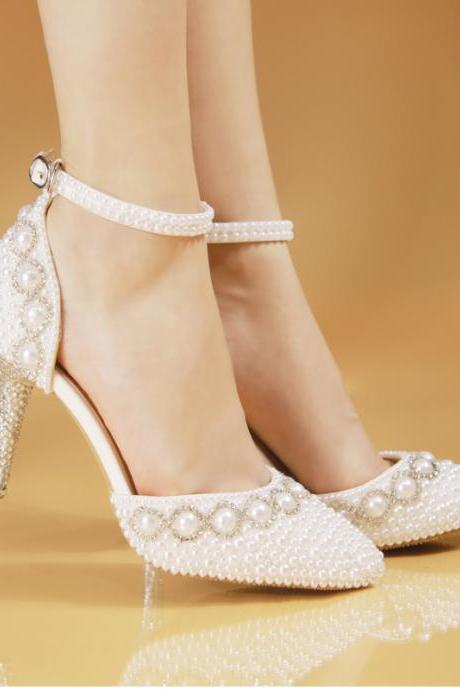 Sparkle White Wedding Heels Women Pumps 7-8cm High Heels Wedding Bridal Shoes Crystals Lace Pointed Toe High Heels