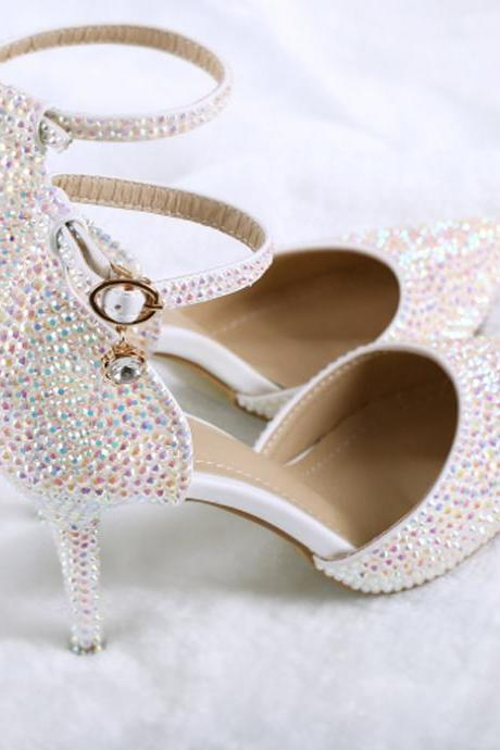 2018 In Stock Sparkle White Wedding Heels Women Pumps 10cm High Heels Wedding Bridal Shoes Crystals Lace Pointed Toe High Heels