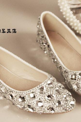 2018 In Stock Sparkle Crystal Wedding Flat Shoes Women Wedding Bridal Shoes Crystals Lace Pointed Toe Flat Shoes
