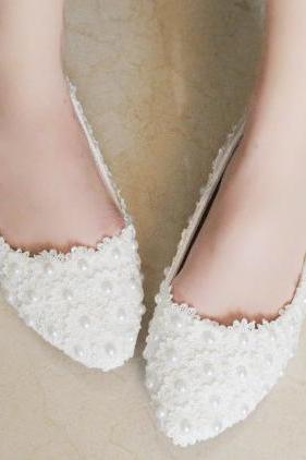 2019 In Stock Sparkle White Wedding Flat Shoes Women Wedding Bridal Shoes Crystals Lace Pointed Toe Flat Shoes