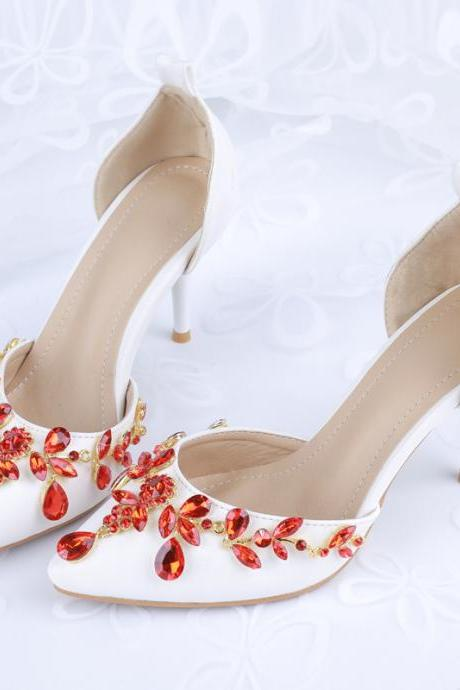 2019 In Stock Sparkle Pearls Red Wedding Heels Women Pumps 10cm High Heels Wedding Bridal Shoes Crystals Lace Pointed Toe High Heels