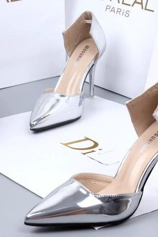 2018 In Stock Silver Women Pumps High Heels Fashion Pointed Toe High Heels