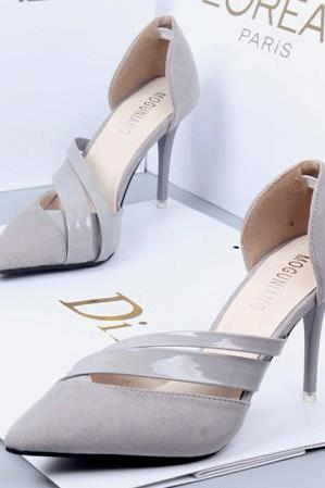 2019 In Stock Grey Women Pumps High Heels Fashion Pointed Toe High Heels