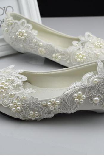 2018 In Stock Sparkle Crystal Lace Wedding Flat Shoes Women Wedding Bridal Shoes Crystals Lace Pointed Toe Flat Shoes