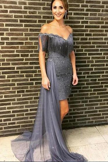 2018 Grey Prom Dresses Off the Shoulder Beading Crystals Tassle Evening Dress Formal Gowns