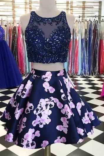 2018 Two Pieces Homecoming Dresses Crew Neck Sleeveless Beading Crystals Mini Short Floral Print Cocktail Dresses Party Gowns Vestidos
