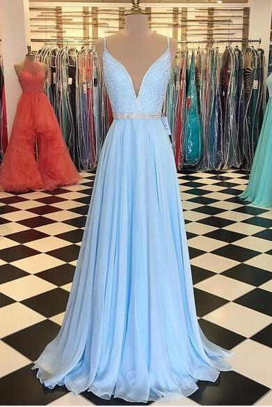2020 Baby Blue A Line Chiffon Prom Dresses Crew Neck Beading Crystals Pleat Evening Dress Formal Gowns Vestidos