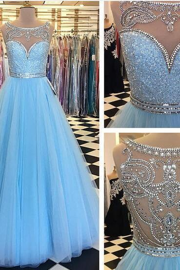 2020 Baby Blue Ball Gown Tulle Prom Dresses Crew Neck Beading Crystals Evening Dress Formal Gowns Vestidos