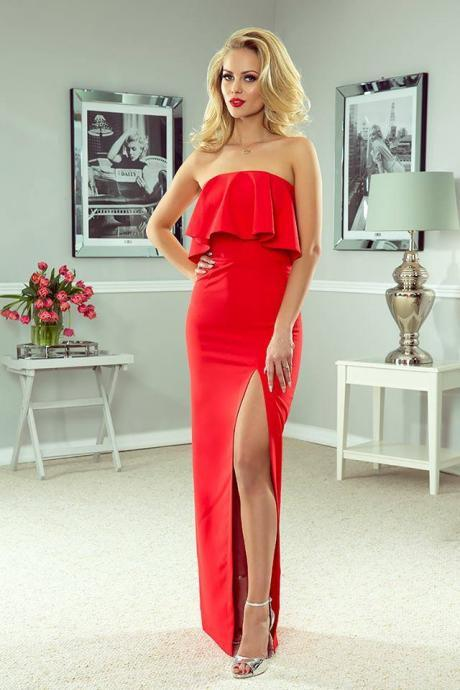 Elegant 2018 Red Sheath Prom Dresses Off the Shoulder Long Evening Dress Formal Gowns Vestidos