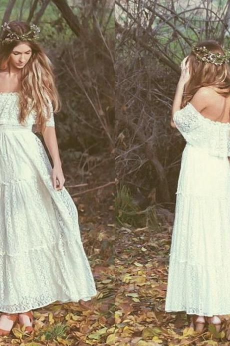 Bohemian Vintage Wedding Dress Off-the-shoulder Lace Ivory Or White Hippie Wedding Dress Embroidered Maxi Lace Dress Bridal Gowns