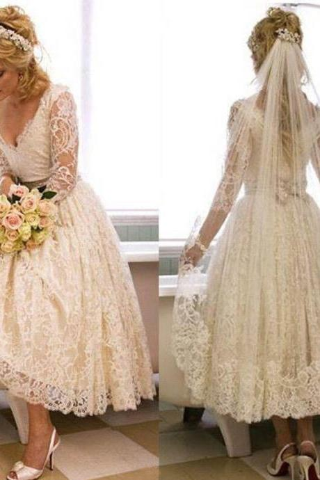Stunning Ivory Garden Short V-Neck Wedding Dresses 2018 Illusion Applique Lace Sheer Tea Length Bridal Ball Gowns Long Sleeve