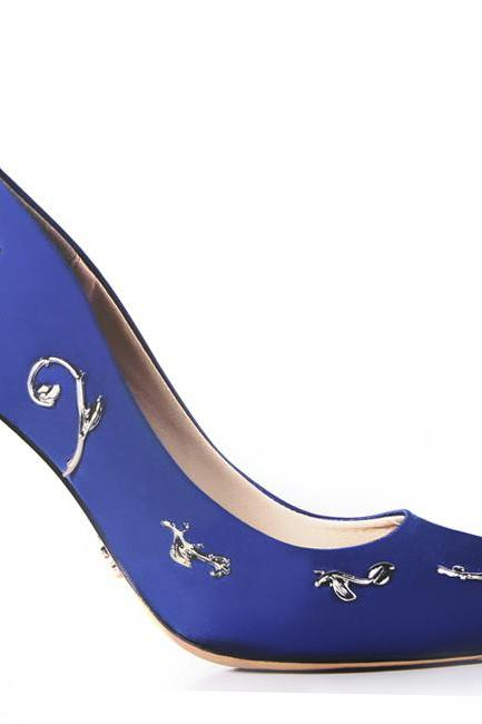 Royal Blue satin bridal wedding shoes eden pumps high heels with leaves shoes for evening/prom/party