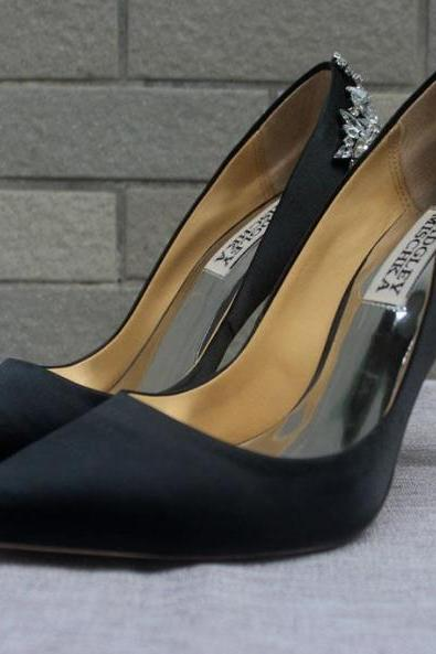 new arrival bridal shoes black genuine leather wedding shoes heels silk pump shoes for wedding prom evening