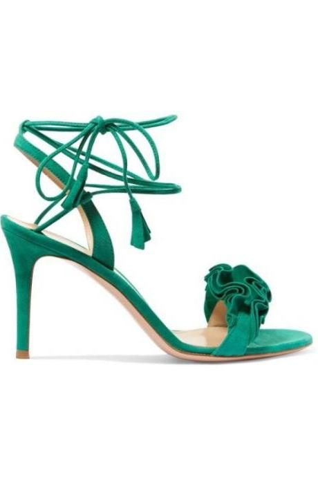 Green Summer Women Shoes for Wedding Bridal Shoes Unique Pump Heels for Evening Prom Party Shoes