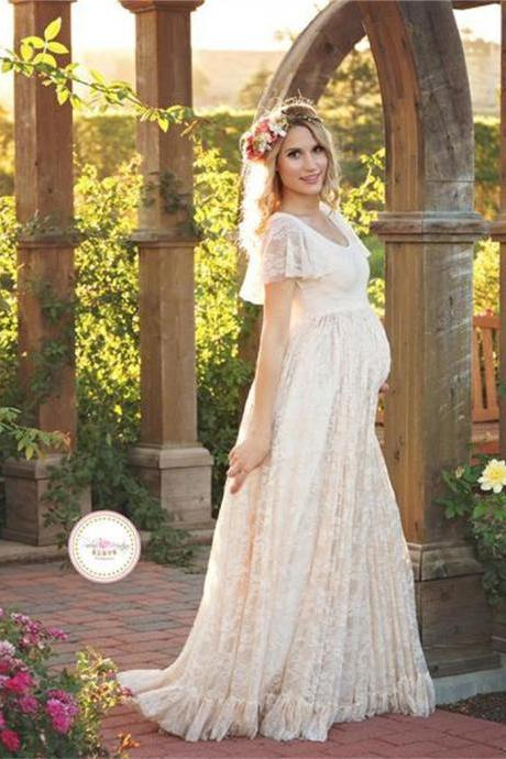 Maternity Photography Props Lace Dresses Off White Maternity Maxi Dress Mama Gown Large Size Pregnant Woman Dress