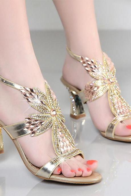 crystal prom shoes bridal sandals wedding shoes wedges chunky women slides sheepskin bridesmaid shoes party shoes