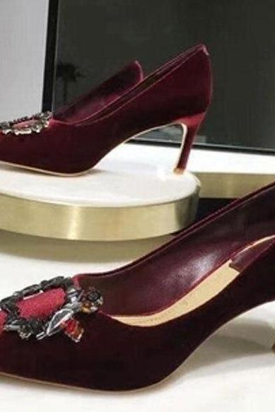 2017 burgundy comfortable wedding shoes velvet bridal heels 10cm/7cm/platform shoes for evening party prom shoes