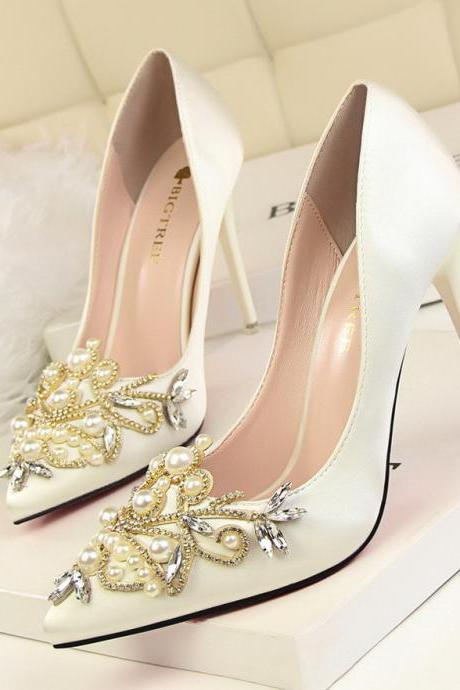 silk wedding shoes with appliques crystals beaded pointed toe high heels shoes for wedding bridesmaid evening party prom