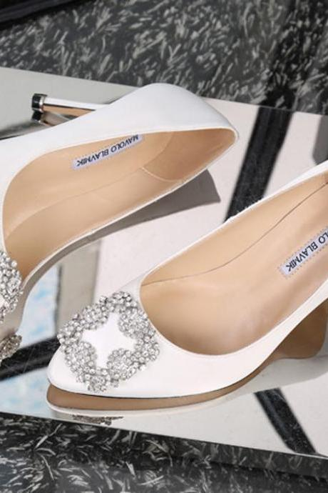 new arrival satin bridal wedding shoes with crystals Slip-On high Stiletto heel pumps evening party prom shoes