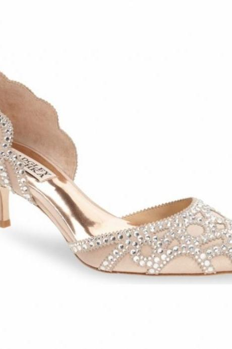 crystals beaded pink wedding shoes pointed toe Heel silk bridal shoes Genuine Leathers shoes for wedding/evening/prom