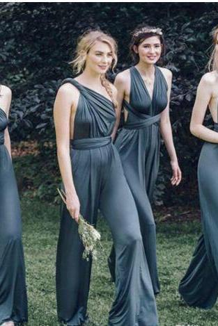Custom Made Convertible Chiffon Jumpsuit, Mismatched Bridesmaid Jumpsuit