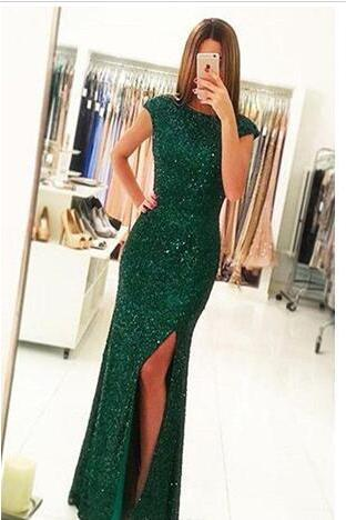 Elegant Prom Dresses 2018 Sheath Long Evening Gowns Cap Sleeves Split Party Dresses Floor Length Vestido De Festa