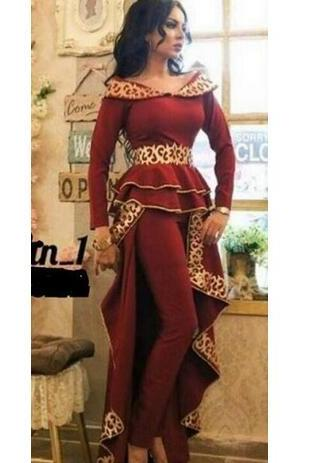 2020 Wine Red Prom Dress with Pants Gold Embroidery Long Sleeves with Peplum Two Pieces Set Party Suit