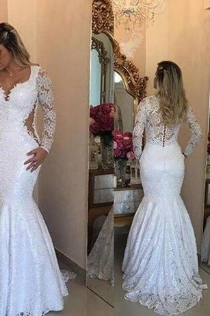 Lace Long Sleeve Mermaid Wedding Dresses 2018 Elegant Arabic Floor Length Bridal Vestidos Plus Size Back Covered Buttons Wedding Gowns