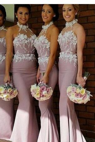 2018 New Arrival Elegant 3D-Floral Appliques Bridesmaid Dresses Halter Illusion Neck Sleeveless Floor Length Chiffon with Belt Prom Dresses