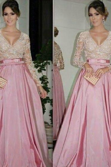 New 2018 Prom Dresses V Neck Long Sleeves A-line Dust Pink Illusion with Belt Evening Gowns