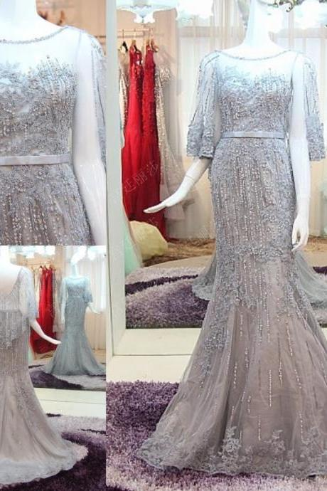 Luxury Elegant Mermaid Unique Prom Dresses Crew Neck Beading Crystals Evening Dress Party Gowns