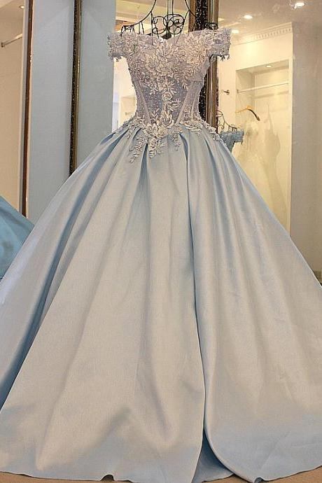 Baby Blue Ball Gown Tulle Prom Dresses Off the Shoulder Handmade Flowers Appliques Lace Evening Dress Party Gowns