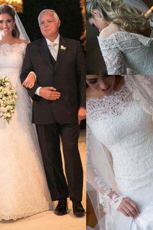 Modest Off Shoulder Long Sleeves Lace A Line Wedding Dresses Bridal Gowns Back Zipper with Covered Button Custom Made