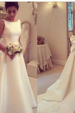 2018 Simple Jewel A Line Elegant Wedding Dresses Sexy Backless with Bow Sash Satin Long Bridal Gowns French Romantic Simple Bride Dresses
