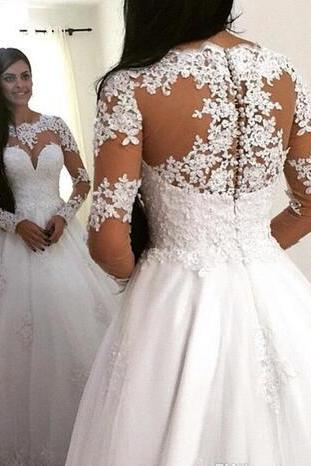 Fashion 2017 Lace Appliques Long Sleeves Wedding Dresses A Line Tulle Long Graceful Maternity Women Bridal Gowns Custom Vestidos