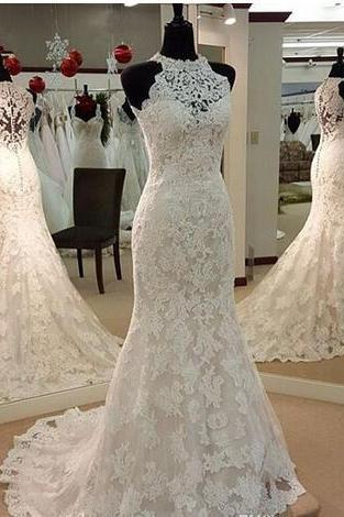 Modest Mermaid Wedding Dresses with Lace Appliques Crystal High Neck Wedding Gowns Sexy Illusion Plus Size Custom Made Bridal Gowns