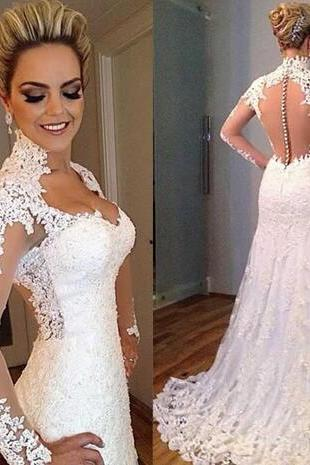 High Collar Applique Lace Wedding Dresses With Long Sleeves Sheer Back Button Sweep Train Bridal Gowns Vestido de noiva