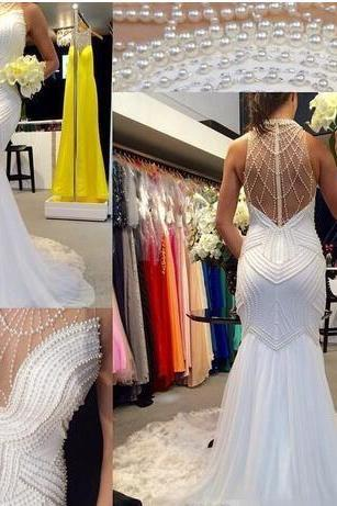 Luxury Mermaid Wedding Dresses White Chiffon High Neck Sleeveless with Pearls Open Illusion Back Sweep Train Custom Made 2018 Bridal Gowns